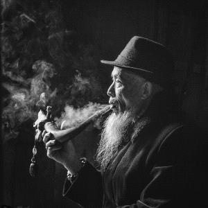 PSA HM Ribbons - Qingsong Liu (China)  Old Man Smoking Pipe